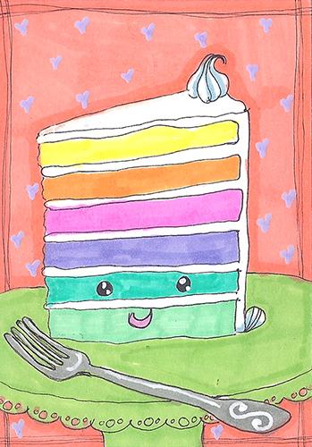 Kawaii Rainbow Cake